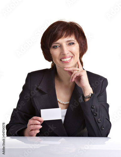 bushinesswoman showing white card