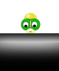 omino con grandi occhiali verdi