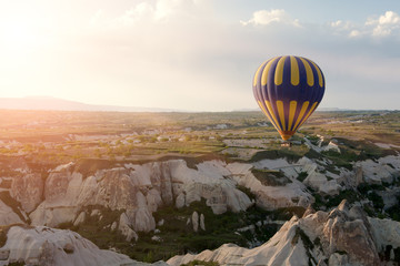 Hot air balloons rise over Cappadocia, Turkey