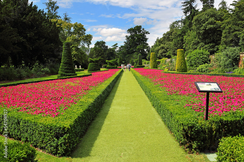 Colourful flowerbeds in a formal garden