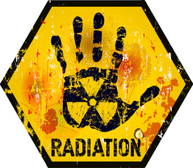 radiation warning sign, grungy style