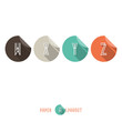 W X Y Z - Flat Design Paper Button Alphabet