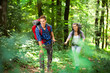 Young couple hiking in a forest