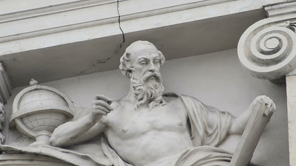 architectural detail of statue tracking right