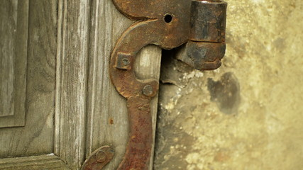 architectural detail iron rusty hinge close up
