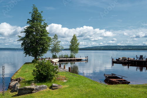 Fotobehang Pier Summer morning at Lake Siljan in Sweden