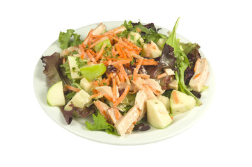 Salad with smoked chicken with apple.