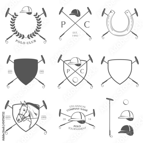 Set of vintage horse polo labels, badges and design elements - 54706732