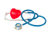 Blue stethoscope with heart