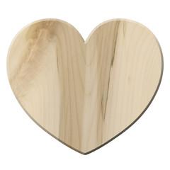 Herzdeko aus hellem Ahornholz – freigestellt