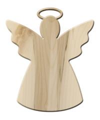 Deko-Engel aus hellem Ahornholz – freigestellt