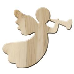 Dekoengel aus Holz mit Fanfare – freigestellt