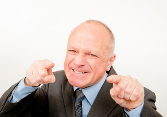 Angry Businessman Pointing Fingers