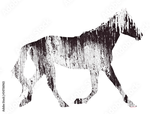 horse silhouette illustration with old wooden wall pattern