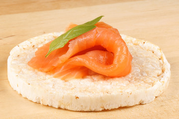 Rice cake with smoked salmon