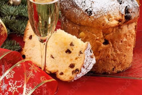 Italian Christmas with spumante and panettone