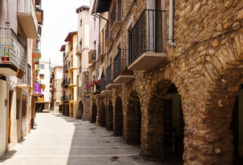 picturesque street of old Catalan town