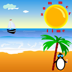 summer time with penguin vector illustration