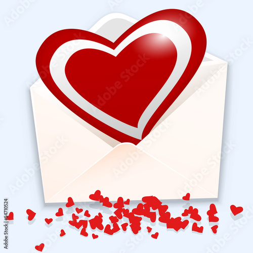 Open envelope with heart