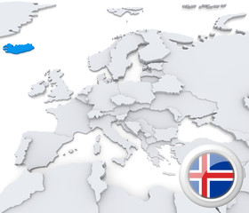 Iceland on map of Europe