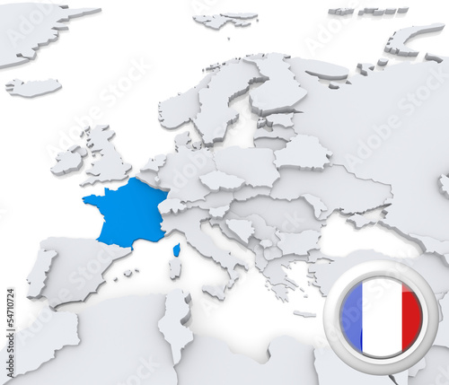 France on map of Europe