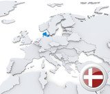 Denmark on map of Europe