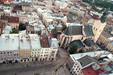 Top view of the Cathedral in Lvov, Ukraine