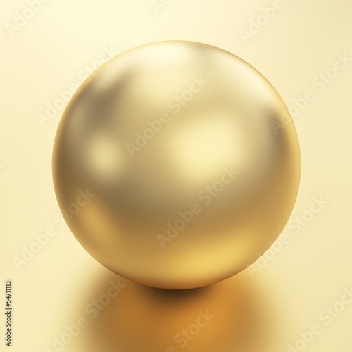 Beautiful golden sphere render isolated with clipping path