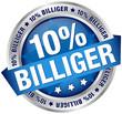 """Button Banner """"10% billiger"""" blau/silber"""