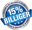 """Button Banner """"15% billiger"""" blau/silber"""