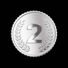 Silver medal on black isolated with clipping path