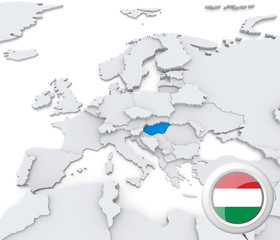 Hungary on map of Europe