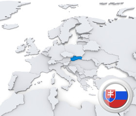 Slovakia on map of Europe