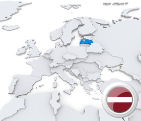 Latvia on map of Europe