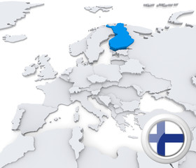 Finland on map of Europe