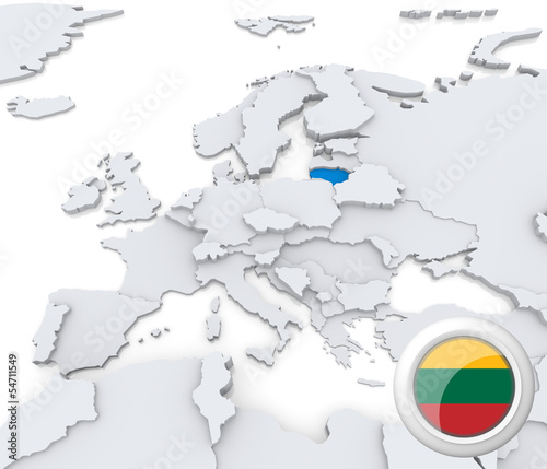 Lithuania on map of Europe