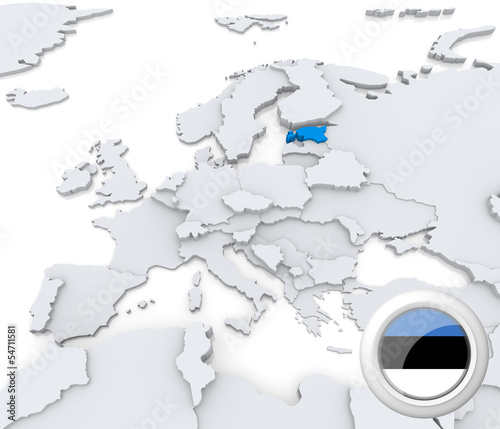 Estonia on map of Europe