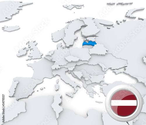 Latvia on map of Europe