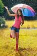 Young and beautiful woman have fun in rain