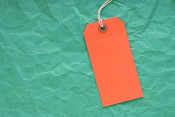 Orange Luggage Tag on Green Background