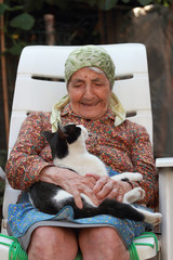 senior woman and cat