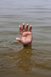 Hand of drowning man waits for help in the lake