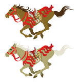 Two types running horses, which wearing Japanese retro costume