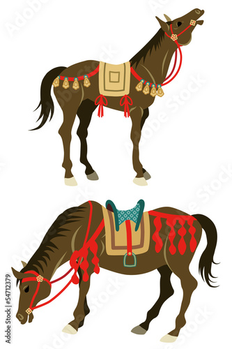 Two types horses, which wearing Japanese retro costume