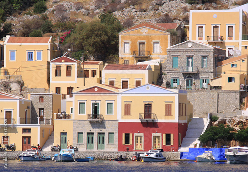 Colorful Symi Houses and Wooden Greek Boats