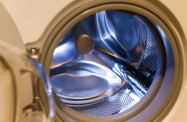 lookinh inside a modern washing machine
