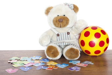 Education and fun for children with teddy bear concept