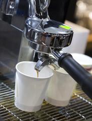 prepares espresso