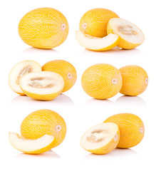Set fresh honeydew melon isolated on a white background