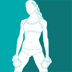 Silhouette of sports girl with dumbbells in hand
